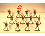 Zinnfiguren Mars 30mm - Box 003 - Danish Infantry in Action 1912, Foot x 12 - Painted