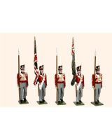 B1A Toy Soldiers Set British Line Infantry Ensigns with colours and Colour Sergeants Painted