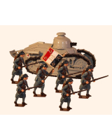 822 Toy Soldier Set Renault F17 Tank with Gun with infantry Painted
