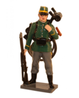 827 Toy Soldier Set Infantry - Standing with folded bike on back - 1st Carabinier Regiment Painted