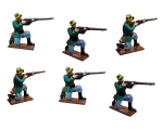 833 Toy Soldier Set Infantry Six Kneeling Firing - 1st Carabinier Regiment Painted