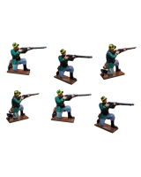 0833 Toy Soldier Set Infantry Six Kneeling Firing - 1st Carabinier Regiment Painted