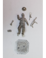 75/31 Model Soldier - Waffen SS Panzer Grenadier advancing, entrenching tool and grenade in hands - Unpainted