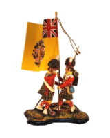 ToL 079 - Two Figure set - British Army Napoleonic War Highlander with flag - 54mm Painted in matt