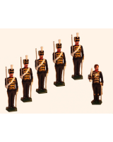 0034a Toy Soldiers Set Officer with five Troopers The 3rd King's Own Hussars 1890 Painted