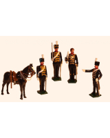 0035a Toy Soldiers Set An Officer, Sergeant Major, Trooper at attention and Trooper shouldering Painted