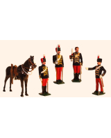 035b Toy Soldiers Set An Officer, Sergeant Major, Trooper at attention and Trooper shouldering Painted