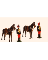 0036b Toy Soldiers Set Two Troopers at attention with their Horses Painted