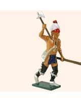 0610 5 Toy Soldier Warrior rasing his hand with an axe French Allies Kit