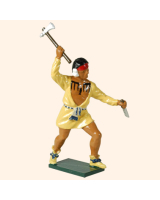 0610 6 Toy Soldier Warrior with shirt rasing his hand with an axe French Allies Kit